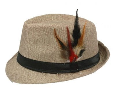 Fedora Hat LIGHT COFFEE Black Banded with Feather