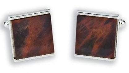 Genuine Chocolate Obsidian Square Cuff Links