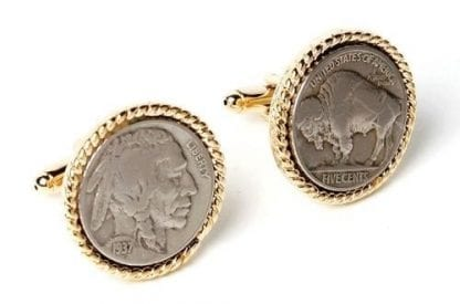 Genuine Indian Buffalo Nickel With Gold Rope Finish Cuff Links