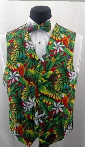 Hawaiian Vest With Flowers and Car- Vest Only Closeout