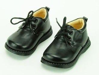 Infant Boys Lace Up Black Basic Dress Shoes