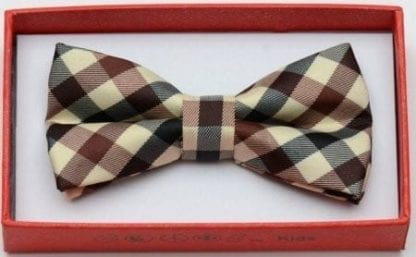 Kids Beige with Red and Brown Plaid Bow Tie – Christmas Tie