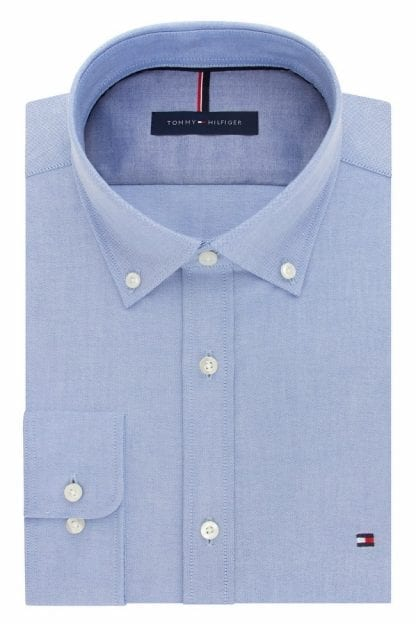 Light Blue Tommy Hilfiger Slim Fit Non Iron Broadcloth Solid Dress Oxford Shirt Button Down Collar- Closeout