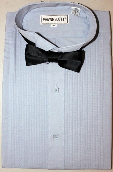 Light Chambray Wing Tip Tuxedo Shirt and Bowtie Slim
