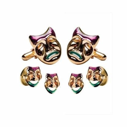 Comedy Tragedy Face Mardi Gras Cufflinks Studs Gold