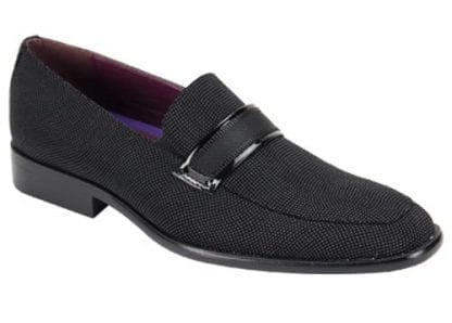 Men's Black Slip On Formal Shoes Grosgrain And Patent Leather Smokers