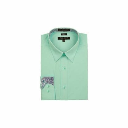 Men's Solid Dress Shirt With Contrast Trim