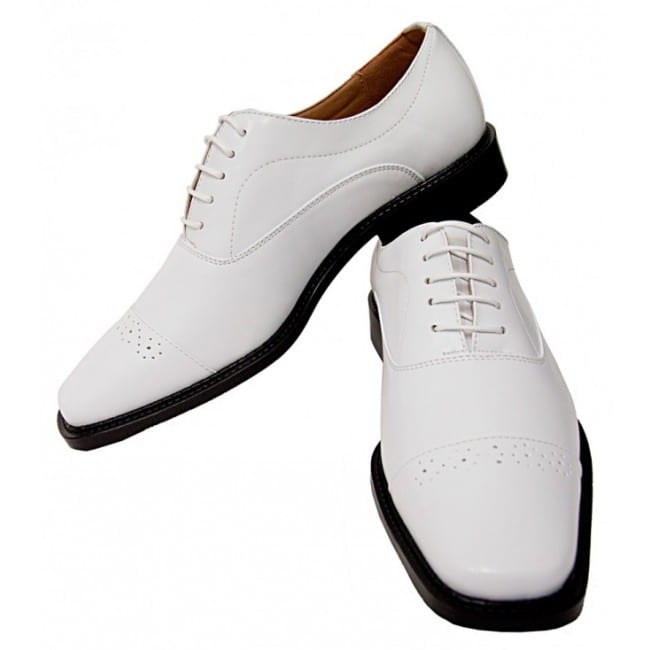 Men's White Lace Up Dress Shoes by