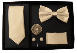 Beige Blue 5 Piece Gift Set Tie Bowtie Lapel Pin Handkerchief and Cuff Links