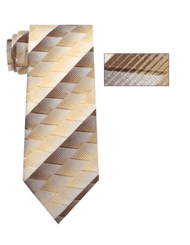Mens Beige and Brown Striped Skinny Necktie with Matching Pocket Square