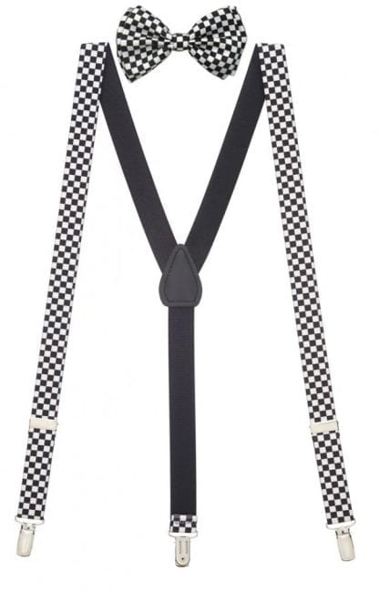 Mens Black and White Checkered Suspenders Set