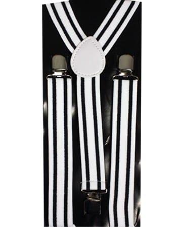 Mens Black and White Striped Clip Suspenders