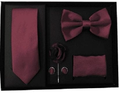 Burgundy 5 Piece Gift Set Tie Bowtie Lapel Pin Handkerchief and Cuff Links