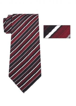 Mens Black and Silver Striped Skinny Necktie with Matching Pocket Square