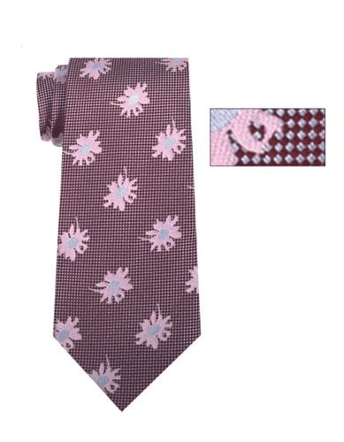 Mens Burgundy, Silver and Blue Pattern Skinny Necktie with Matching Pocket Square