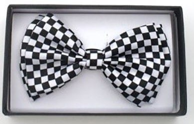 Mens Checkered Black and White Adjustable Bowtie