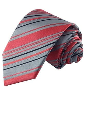 Mens Coral, Gray and Navy Striped Skinny Necktie