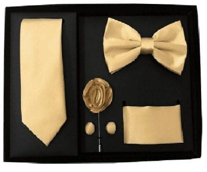 Gold 5 Piece Gift Set Tie Bowtie Lapel Pin Handkerchief and Cuff Links