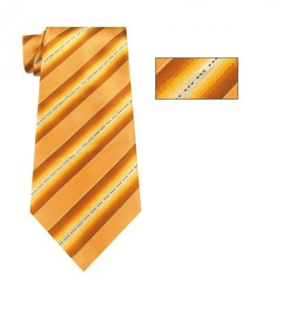 Mens Gold and White Striped Skinny Necktie with Matching Pocket Square