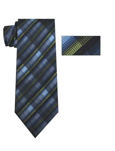 Mens Navy, Green and Black Striped Skinny Necktie with Matching Pocket Square