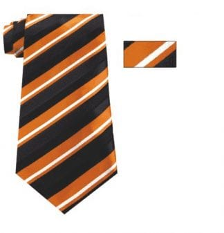 Black and Orange Striped Skinny Necktie with Matching Pocket Square
