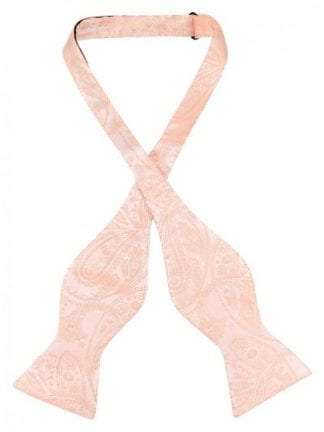 Self Tie Bow Tie Peach Paisley