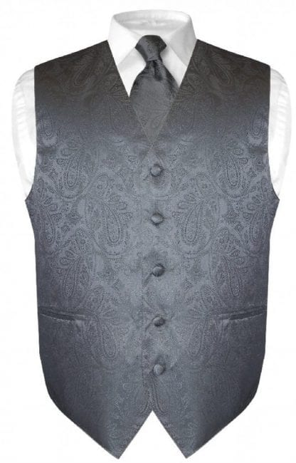 Mens Paisley Tone On Tone Charcoal Grey Vest with Tie Set