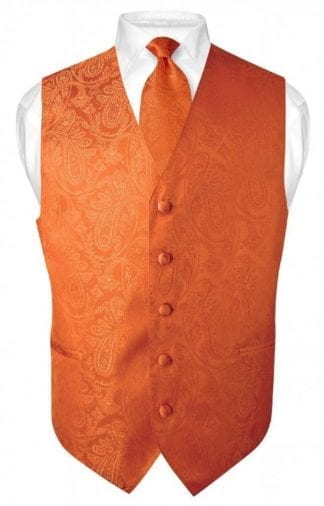 Orange Paisley Vest With Tie