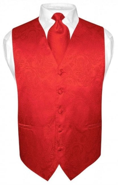 Mens Paisley Tone On Tone Red Vest with Tie Set