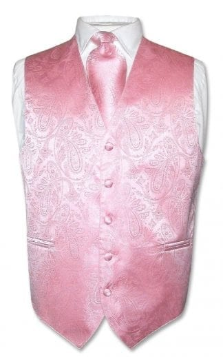 Men's Paisley Tone On Tone Rose Gold Vest Tie Set
