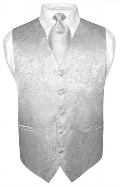 Mens Paisley Tone On Tone Silver Vest with Tie Set