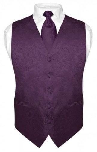Paisley Tone On Tone Vest Tie Purple
