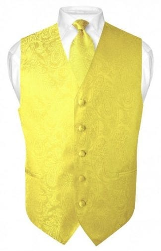 Yellow Paisley Vest With Tie
