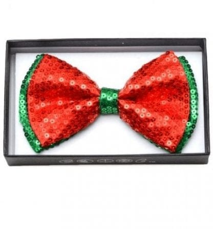 Mens Red and Green Sequin Pre-Tied Bow Tie- Holiday