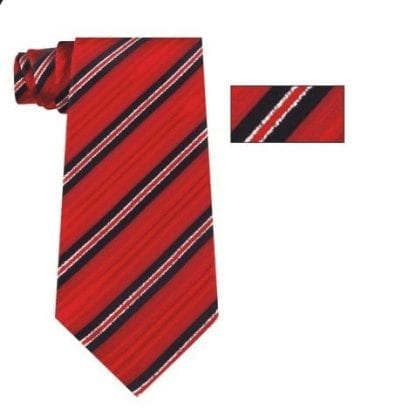 Mens Red, Black and Silver Striped Skinny Necktie