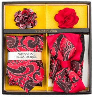 Men's Red Dual Two Tone Bowtie Tie Set Gift Holiday