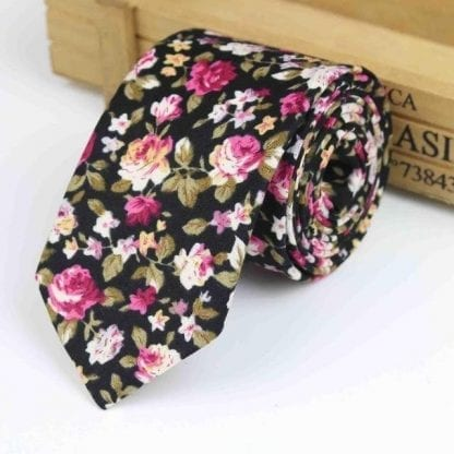 Mens Skinny Cotton Woven Floral Neck Tie in Black and Pink