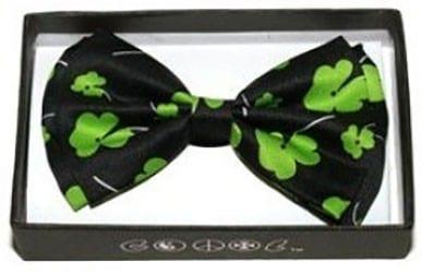 Mens St. Patricks Day Green Clover Pre-tied Bowtie