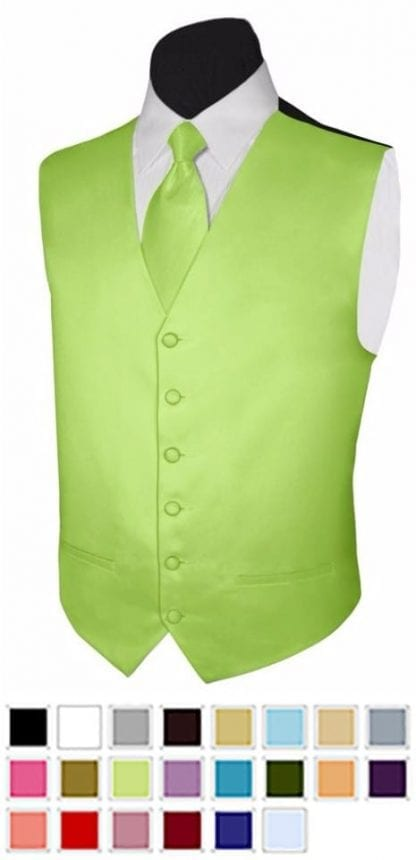 Mens Vest and Neck Tie for Tuxedo or Suit Wedding Colors