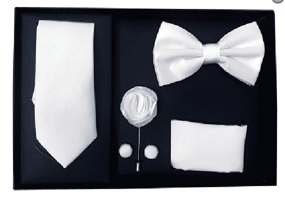 New Men/'s Pre-tied Bow Tie /& Pocket Square Hankie set Black White wedding prom