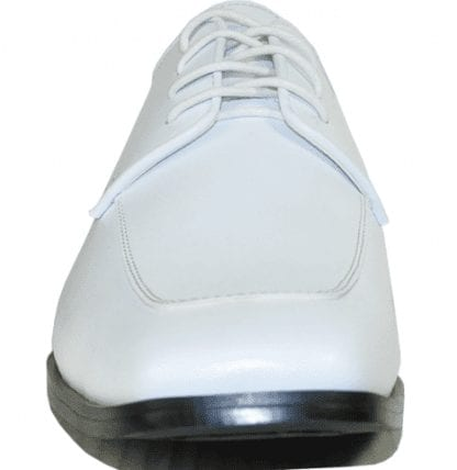 Mens White Square Toe Matte Dress Shoe with Front Stitching