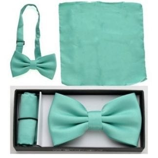 Mint Green Solid Color Bow Tie Pocket Square