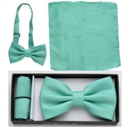 Mint Green Solid Color Bowtie and Pocket Square