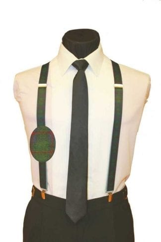 Plaid Burgundy Holiday Christmas Suspenders X-Mas
