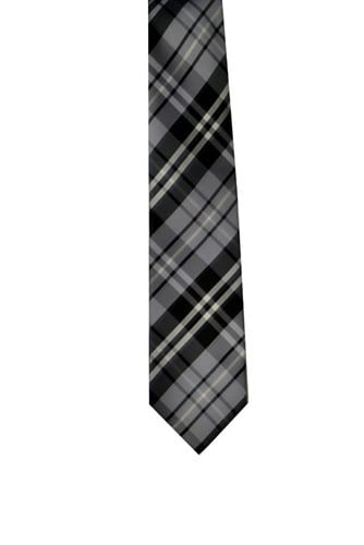 Plaid Necktie Gray