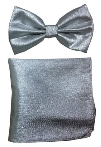 Mantellic Silver Lame Bow Tie Pocket Square