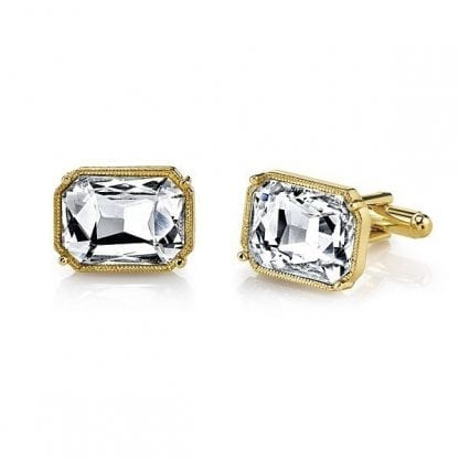 Rectangle Crystal Cuff Links Gold