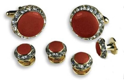 Red Faux Onyx Crystal Edge Set Gold