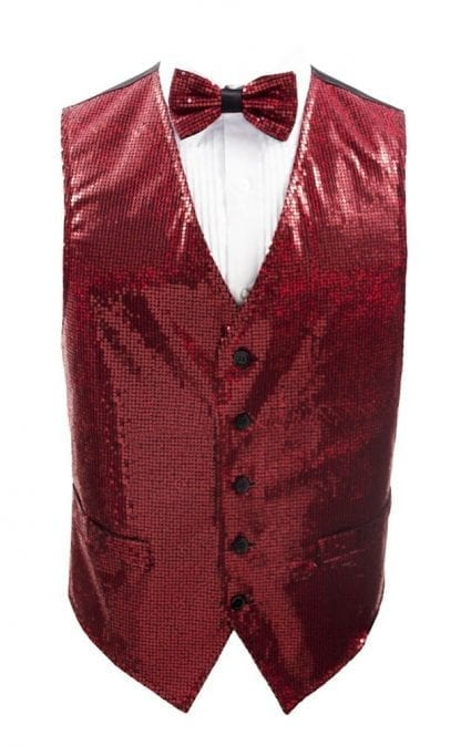 Sequin Vest and Matching Bow Tie Vest All Colors -Mardi Gras