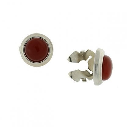 Red Shirt Cuff Button Covers Set in Silver